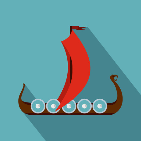 galley: Medieval boat icon. Flat illustration of medieval boat icon for web