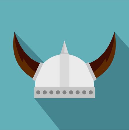 Viking helmet icon. Flat illustration of viking helmet icon for web Illustration