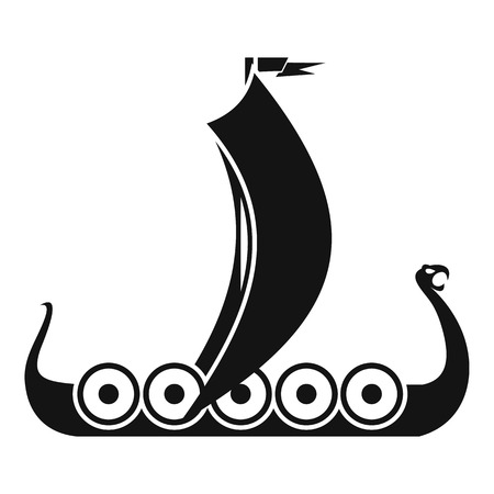 Medieval boat icon. Simple illustration of medieval boat vector icon for web Ilustração