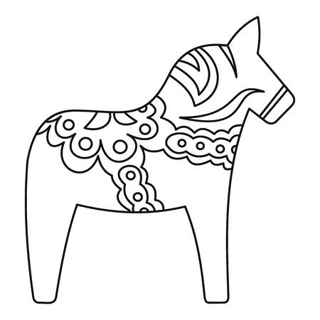 animal figurines: Toy horse icon. Outline illustration of toy horse vector icon for web