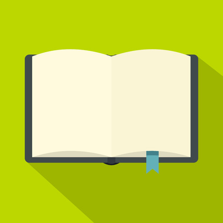 Open book with bookmark icon. Flat illustration of open book with bookmark vector icon for web