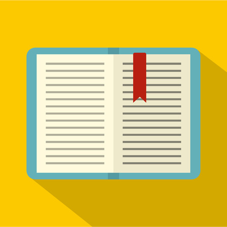tutorial: Open tutorial with bookmark icon. Flat illustration of open tutorial with bookmark vector icon for web