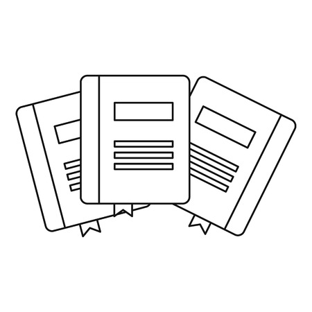 bookmarks: Three books with bookmarks icon. Outline illustration of three books with bookmarks vector icon for web
