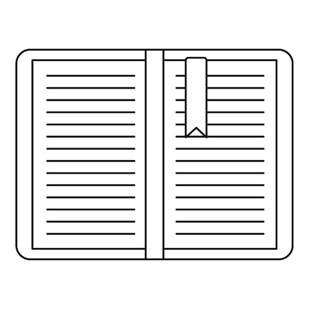 tutorial: Open tutorial with bookmark icon. Outline illustration of open tutorial with bookmark vector icon for web Illustration