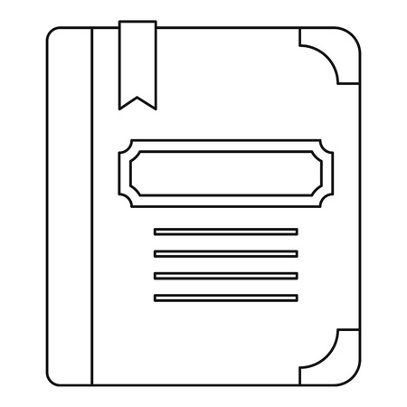 tutorial: Tutorial with bookmark icon. Outline illustration of tutorial with bookmark vector icon for web