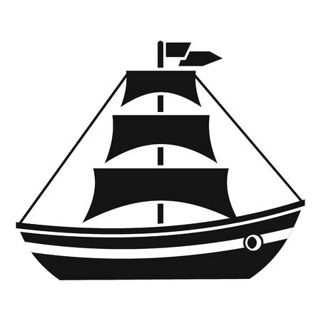 sails: Boat with sails icon. Simple illustration of boat with sails vector icon for web