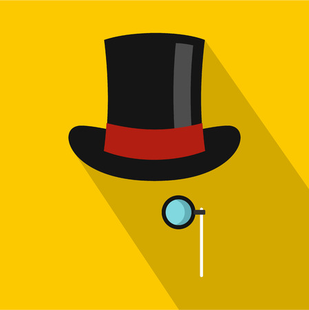 derby hats: Hat with monocle icon. Flat illustration of hat with monocle vector icon for web Illustration