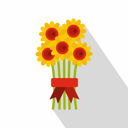 Bouquet of flowers icon. Flat illustration of bouquet of flowers vector icon for web Illustration