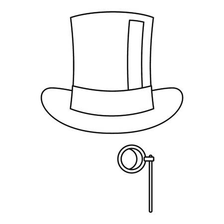 derby hat: Hat with monocle icon. Outline illustration of hat with monocle vector icon for web Illustration
