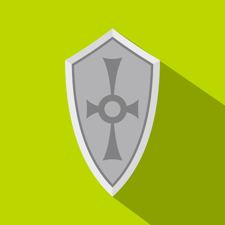 combatant: Shield icon. Flat illustration of shield vector icon for web