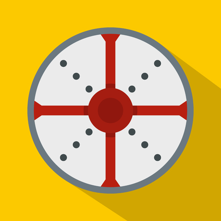rivets: Round shield icon. Flat illustration of round shield vector icon for web Illustration
