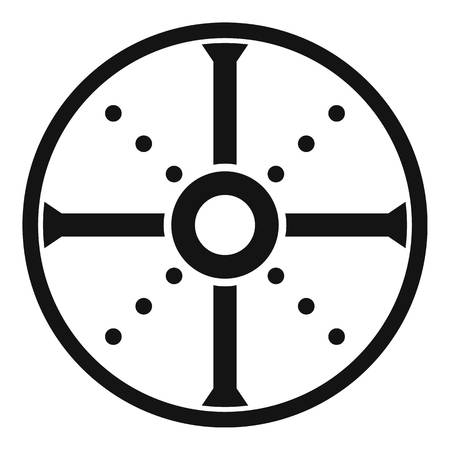 Round shield icon. Simple illustration of round shield vector icon for web