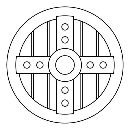 protective shield: Round protective shield icon. Outline illustration of round protective shield vector icon for web