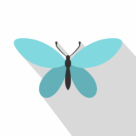 Butterfly with antennae icon. Flat illustration of butterfly with antennae vector icon for web Illustration