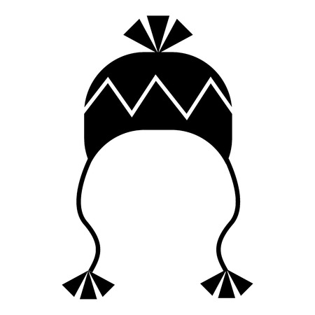 ski wear: Winter hat with tassels icon. Simple illustration of winter hat with tassels vector icon for web Illustration