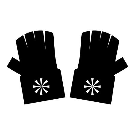 fingerless gloves: Fingerless gloves with snowflake icon. Simple illustration of fingerless gloves vector icon for web