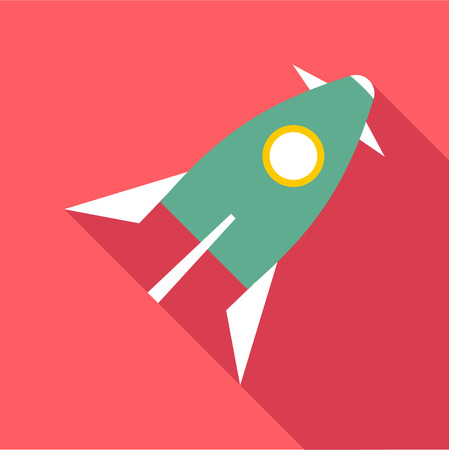 Space rocket icon. Flat illustration of space rocket vector icon for web