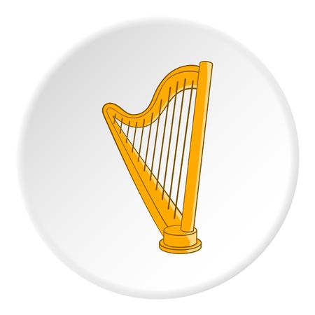 melodic: Harp icon. Cartoon illustration of harp vector icon for web