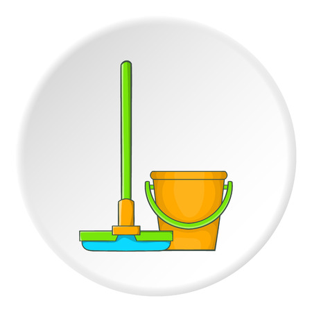Orange bucket with mop icon. Cartoon illustration of bucket with mop vector icon for web