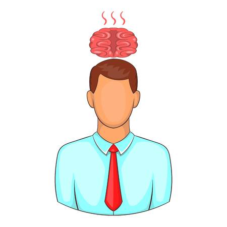 overheated: Man overheated brain icon. Cartoon illustration of human emotion vector icon for web design
