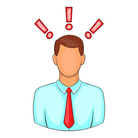 exclamatory: Man with exclamation marks icon. Cartoon illustration of human emotion vector icon for web design
