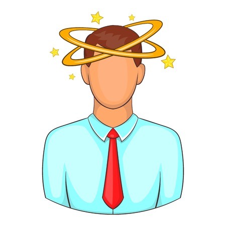 Man with dizziness icon. Cartoon illustration of human emotion vector icon for web design