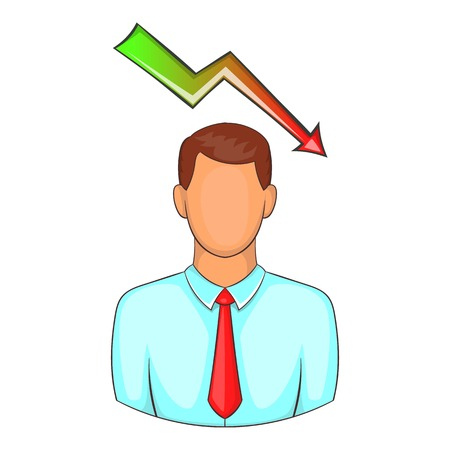 falling man: Man with falling graph over his head icon. Cartoon illustration of human emotion vector icon for web design Illustration