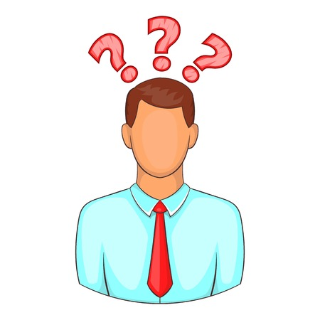 display problem: Man with question marks above his head icon. Cartoon illustration of human emotion vector icon for web design