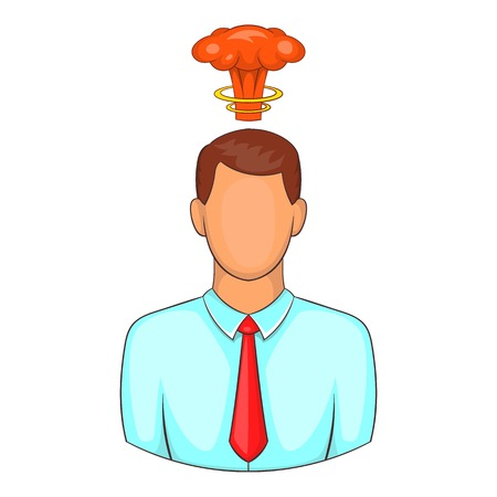 Cloud over man head icon. Cartoon illustration of human emotion vector icon for web design