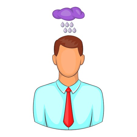 bad weather: Depressed man with cloud over his head icon. Cartoon illustration of human emotion vector icon for web design