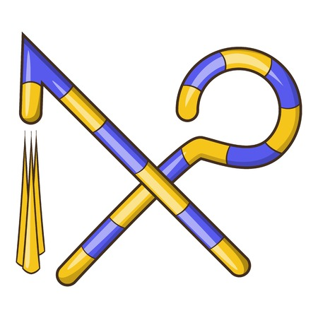 Osiris crossed hook and flail icon. Cartoon illustration of hook and flail vector icon for web design