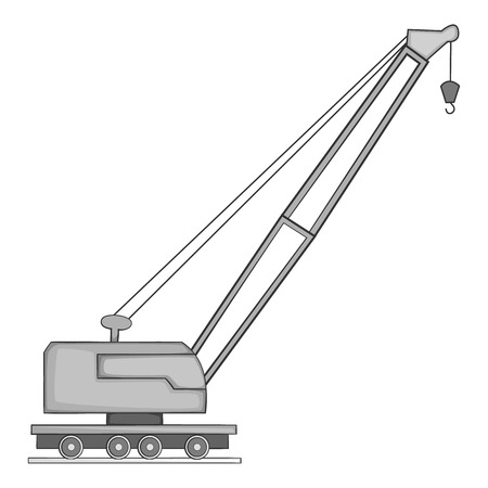 cartwheel: Lifting crane icon. Gray monochrome illustration of crane vector icon for web design