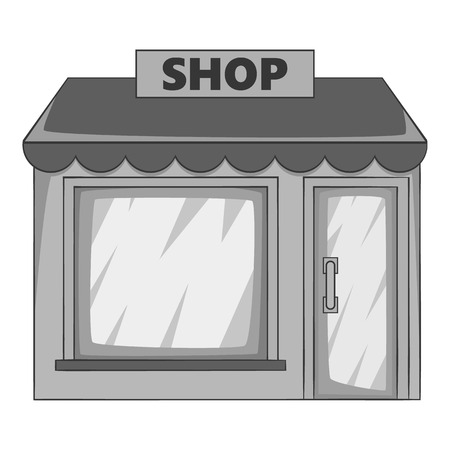 boutique display: Shop building icon. Gray monochrome illustration of shop building vector icon for web design