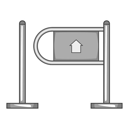 go to store: Shop entrance gate icon. Gray monochrome illustration of shop entrance gate vector icon for web design