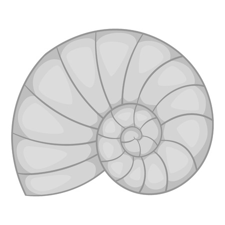 nacre: Sea shell icon. Gray monochrome illustration of sea shell vector icon for web design