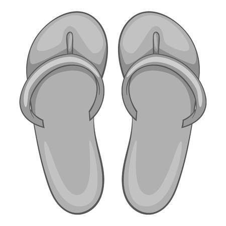beach slippers: Beach slippers icon. Gray monochrome illustration of slippers vector icon for web design