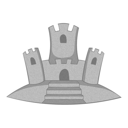 Sand castle icon. Gray monochrome illustration of sand castle vector icon for web design Illustration