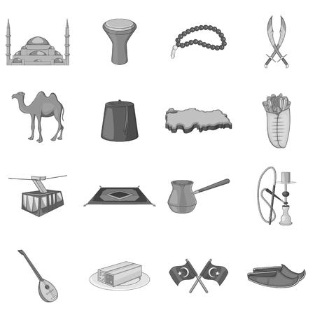 rug map: Turkey icons set. Gray monochrome illustration of 16 Turkey vector icons for web