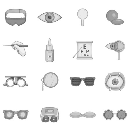 diopter: Ophthalmology icons set. Gray monochrome illustration of ophthalmology 16 vector icons for web