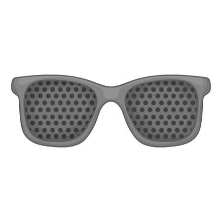 Perforating glasses icon. Gray monochrome illustration of perforating glasses vector icon for web design Illustration