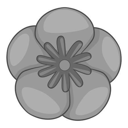 korean design: Rose of Sharon korean flower icon. Gray monochrome illustration of flower vector icon for web design
