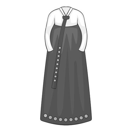 korean traditional: Korean traditional dress icon. Gray monochrome illustration of dress vector icon for web design