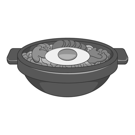 korean design: Bibimbap korean dish icon. Gray monochrome illustration of dish vector icon for web design