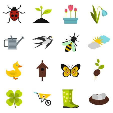 Spring icons set. Flat illustration of 16 spring vector icons for web