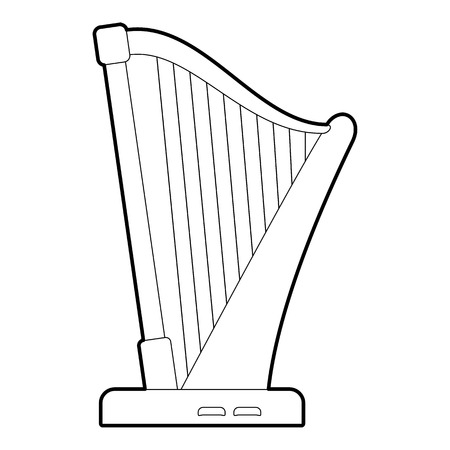 music lyrics: Harp icon. Outline illustration of harp vector icon for web Vectores