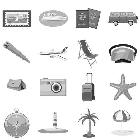 Beach holiday icons set. Gray monochrome illustration of 16 beach holiday vector icons for web