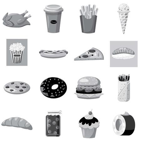 Fast Food Symbole gesetzt. Grau monochrome Darstellung von 16 Fast-Food-Vektor-Icons für Web Standard-Bild - 64850746