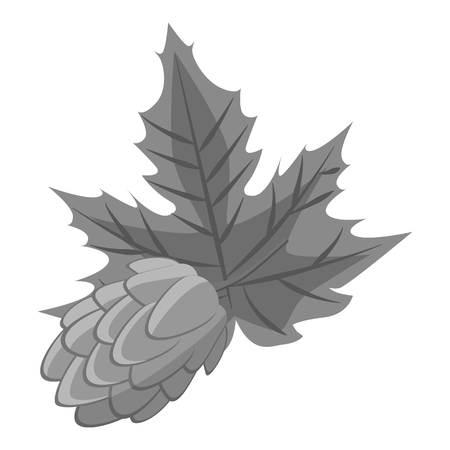 ferment: Hop cone icon. Gray monochrome illustration of hop cone vector icon for web Illustration