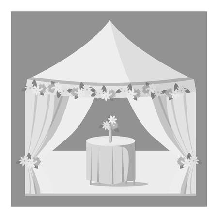 wedding reception decoration: Wedding marquee icon. Gray monochrome illustration of vector icon for web