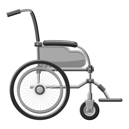 Wheelchair icon. Gray monochrome illustration of wheelchair vector icon for web Illustration